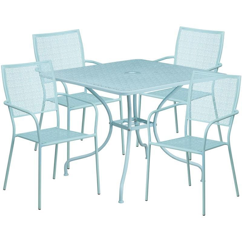 35.5 Square Sky Blue Indoor-Outdoor Steel Patio Table Set With 4 Square Back Chairs - Indoor Outdoor Sets