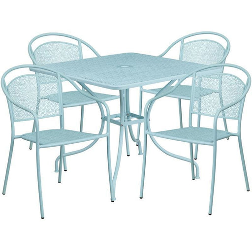 35.5 Square Sky Blue Indoor-Outdoor Steel Patio Table Set With 4 Round Back Chairs - Indoor Outdoor Sets