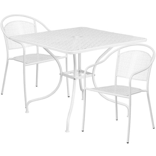 35.5 Square White Indoor-Outdoor Steel Patio Table Set With 2 Round Back Chairs - Indoor Outdoor Sets