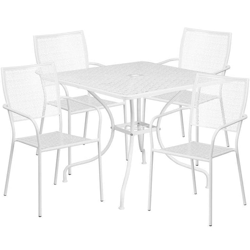 35.5 Square White Indoor-Outdoor Steel Patio Table Set With 4 Square Back Chairs - Indoor Outdoor Sets