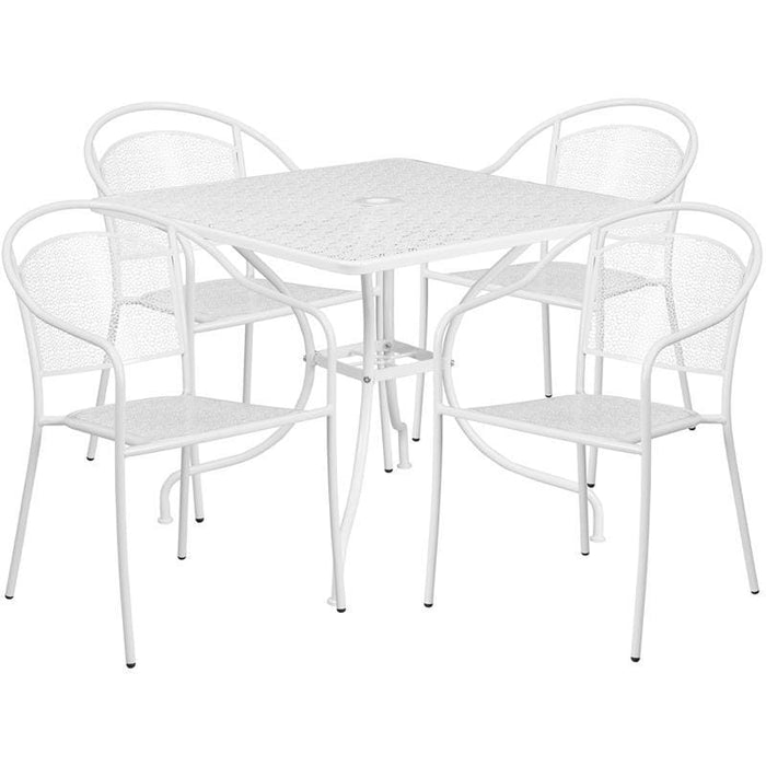 35.5 Square White Indoor-Outdoor Steel Patio Table Set With 4 Round Back Chairs - Indoor Outdoor Sets
