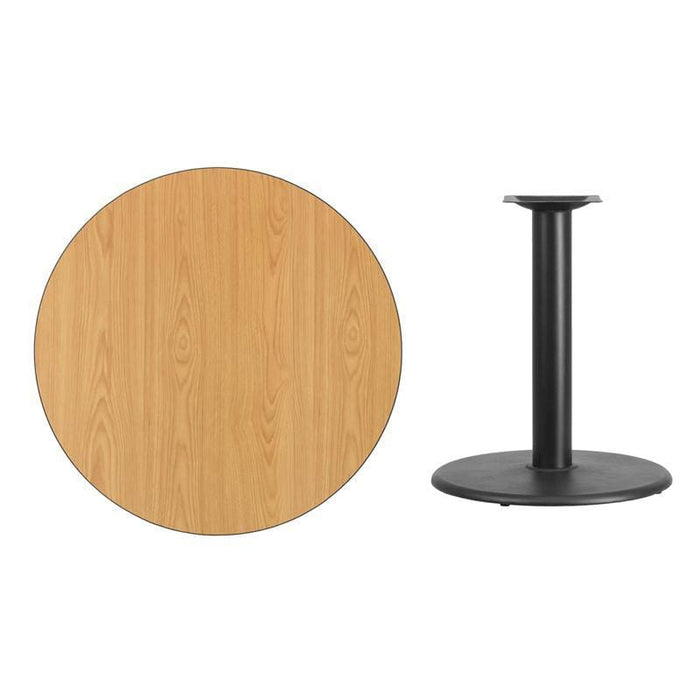 36 Round Natural Laminate Table Top With 24 Round Table Height Base - Restaurant Tables