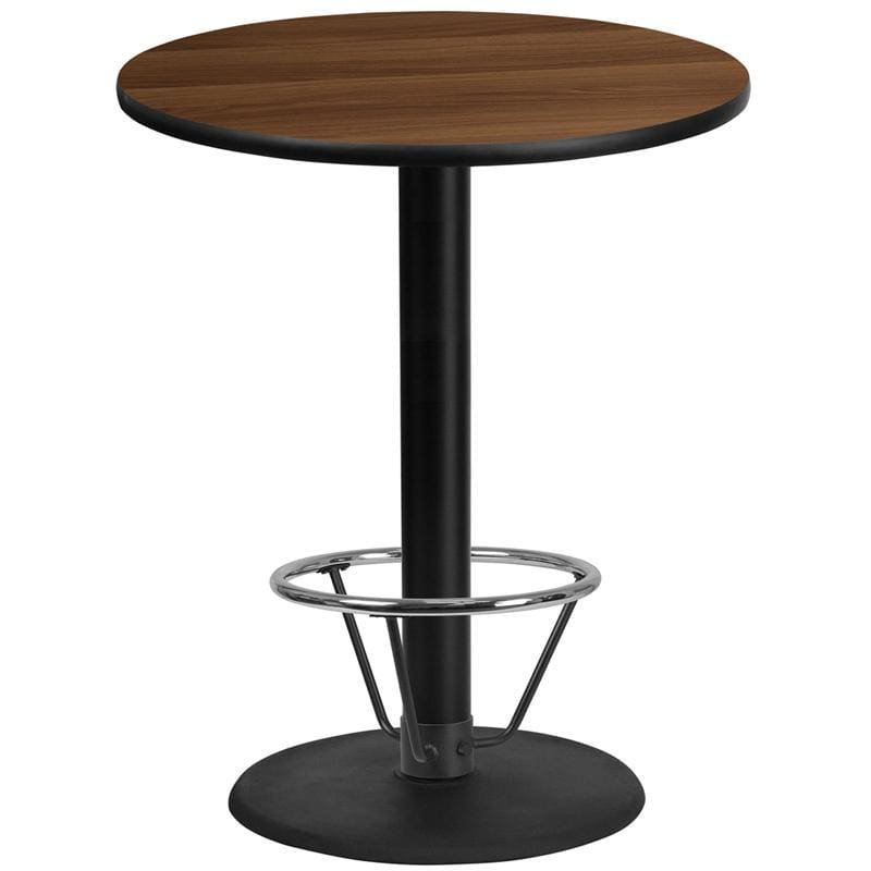 36 Round Walnut Laminate Table Top With 24 Round Bar Height Table Base And Foot Ring - Restaurant Tables