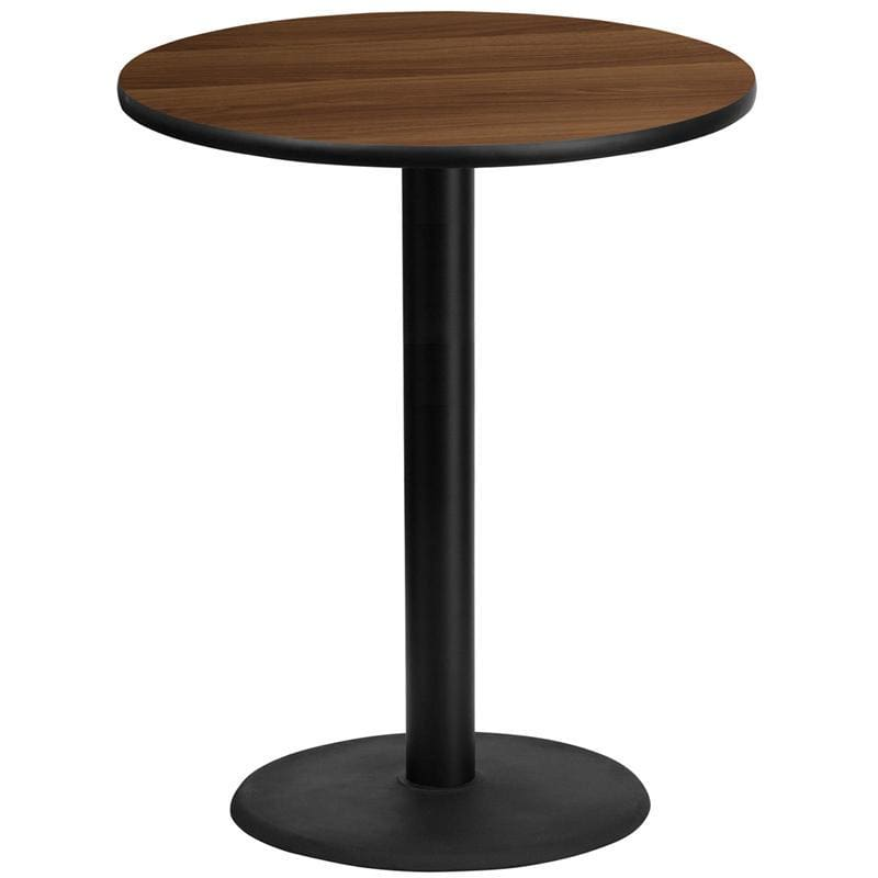 36 Round Walnut Laminate Table Top With 24 Round Bar Height Table Base - Restaurant Tables