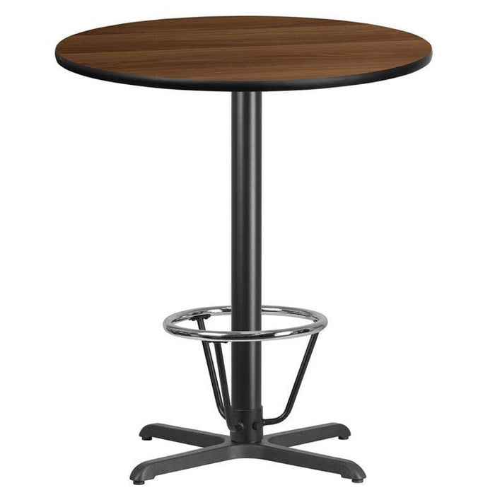 36 Round Walnut Laminate Table Top With 30 X 30 Bar Height Table Base And Foot Ring - Restaurant Tables