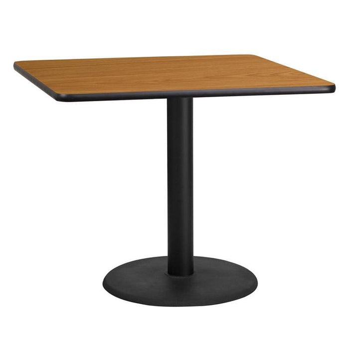 36 Square Natural Laminate Table Top With 24 Round Table Height Base - Restaurant Tables