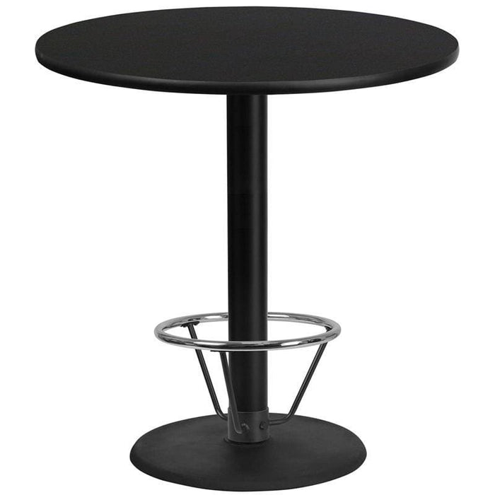 42 Round Black Laminate Table Top With 24 Round Bar Height Table Base And Foot Ring - Restaurant Tables