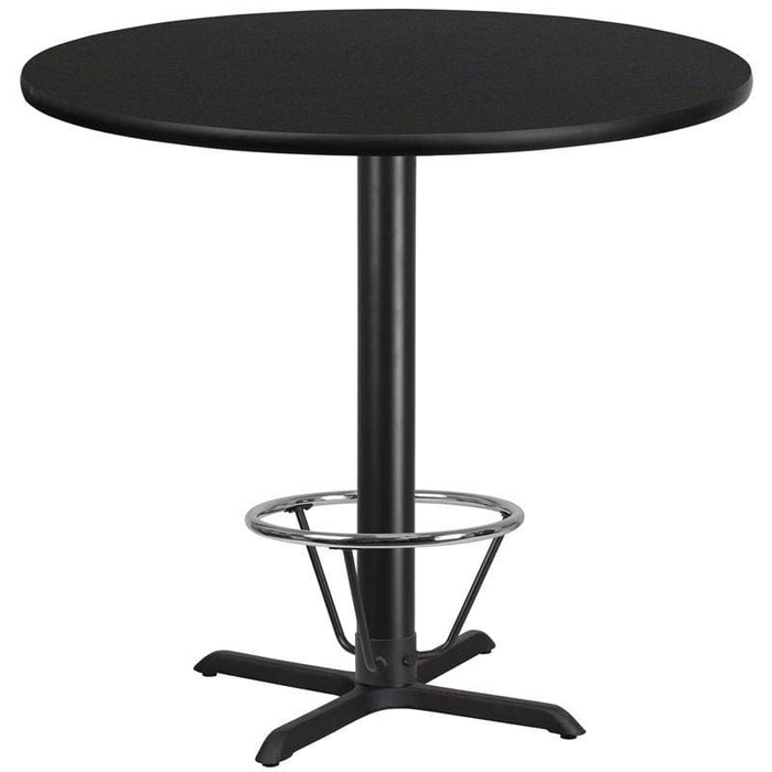 42 Round Black Laminate Table Top With 33 X 33 Bar Height Table Base And Foot Ring - Restaurant Tables
