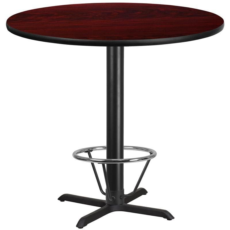 42 Round Mahogany Laminate Table Top With 33 X 33 Bar Height Table Base And Foot Ring - Restaurant Tables