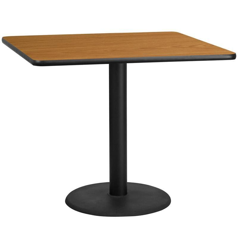 42 Square Natural Laminate Table Top With 24 Round Table Height Base - Restaurant Tables