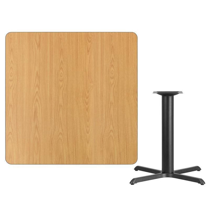 42 Square Natural Laminate Table Top With 33 X 33 Table Height Base - Restaurant Tables