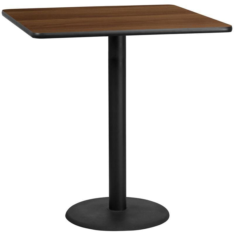 42 Square Walnut Laminate Table Top With 24 Round Bar Height Table Base - Restaurant Tables