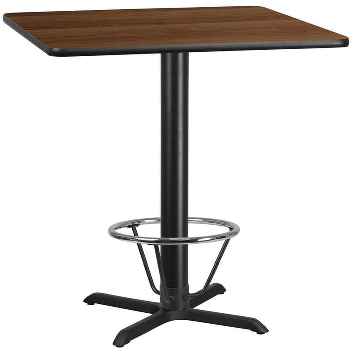 42 Square Walnut Laminate Table Top With 33 X 33 Bar Height Table Base And Foot Ring - Restaurant Tables