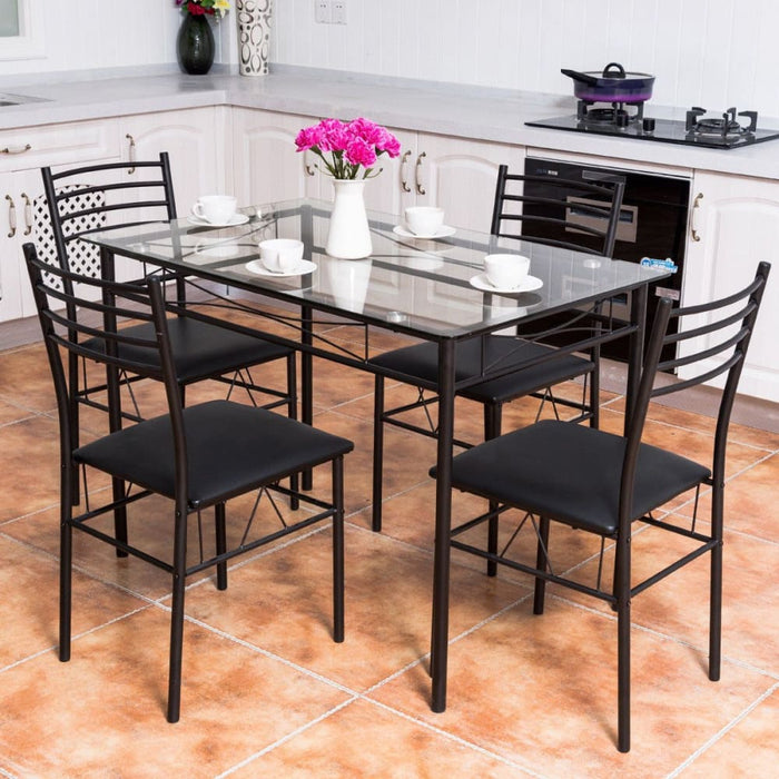 5Pc Dining Set Modern Dining Room Tempered Glass Top Table & 4 Upholstered Dining Chairs