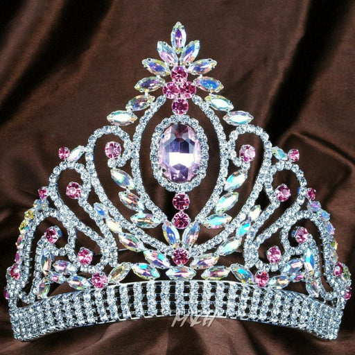 6 Handmade Floral Design Pink And Clear Crystal Tiara