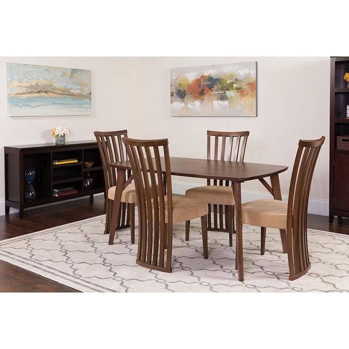 Addington 5 Piece Walnut Wood Dining Table Set With Dramatic Rail Back Design Wood Dining Chairs - Padded Seats - Dinette Sets