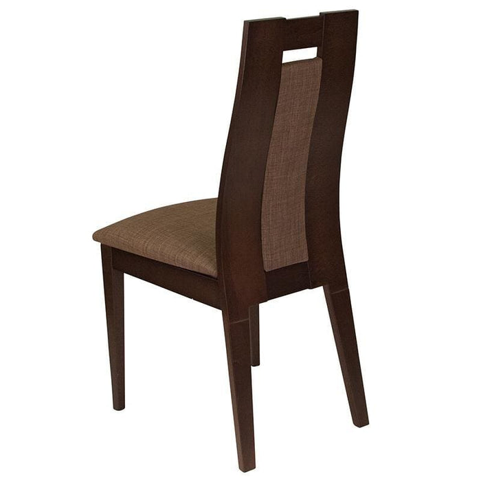 Almont Espresso Finish Wood Dining Chair With Curved Slat Wood And Golden Honey Brown Fabric Seat - Dining Chairs