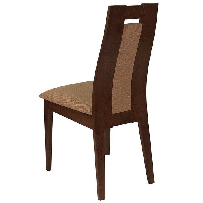 Almont Walnut Finish Wood Dining Chair With Curved Slat Wood And Brown Fabric Seat - Dining Chairs