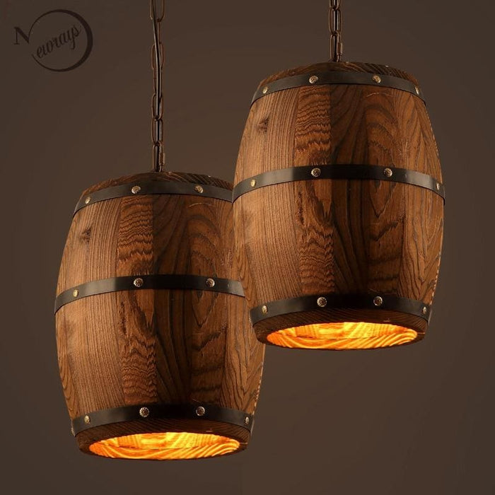 American Country Wooden Wine Barrel Pendant Lamp E27 - Lighting