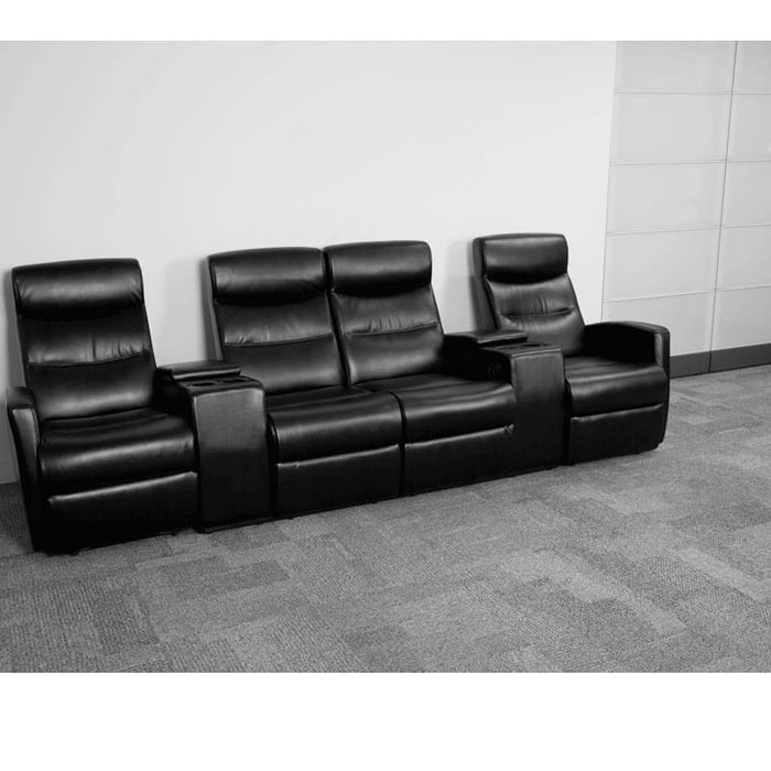 Anetos Series 4-Seat Reclining Black Leather Theater Seating Unit With Cup Holders - Theater Seating