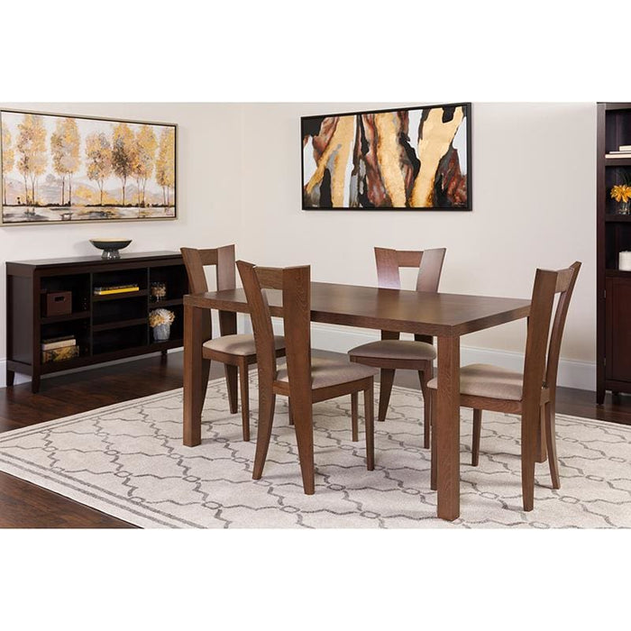 Ardley 5 Piece Walnut Wood Dining Table Set With Slotted Back Wood Dining Chairs - Padded Seats - Dinette Sets