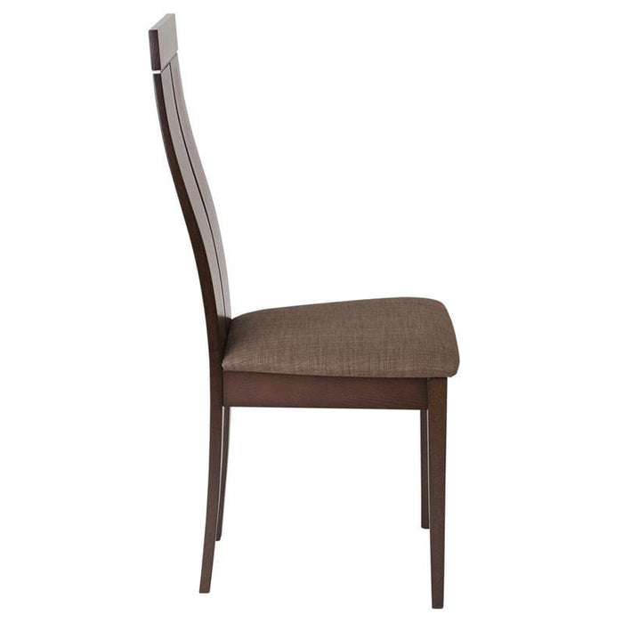 Avalon Espresso Finish Wood Dining Chair With Clean Lines And Golden Honey Brown Fabric Seat - Dining Chairs