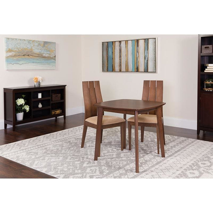 Barrington 3 Piece Walnut Wood Dining Table Set With Wide Slat Back Wood Dining Chairs - Padded Seats - Dinette Sets