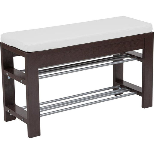 Bay Ridge Espresso Wood Finish Storage Bench With Cushion - Benches