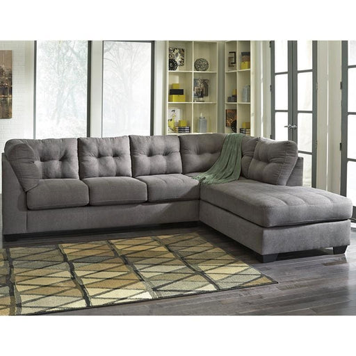 Benchcraft Maier Sectional With Right Side Facing Chaise In Charcoal Microfiber - Living Room Sectionals