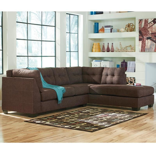Benchcraft Maier Sectional With Right Side Facing Chaise In Walnut Microfiber - Living Room Sectionals