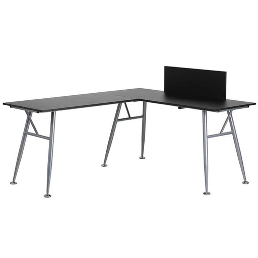 Black Laminate L-Shape Computer Desk With