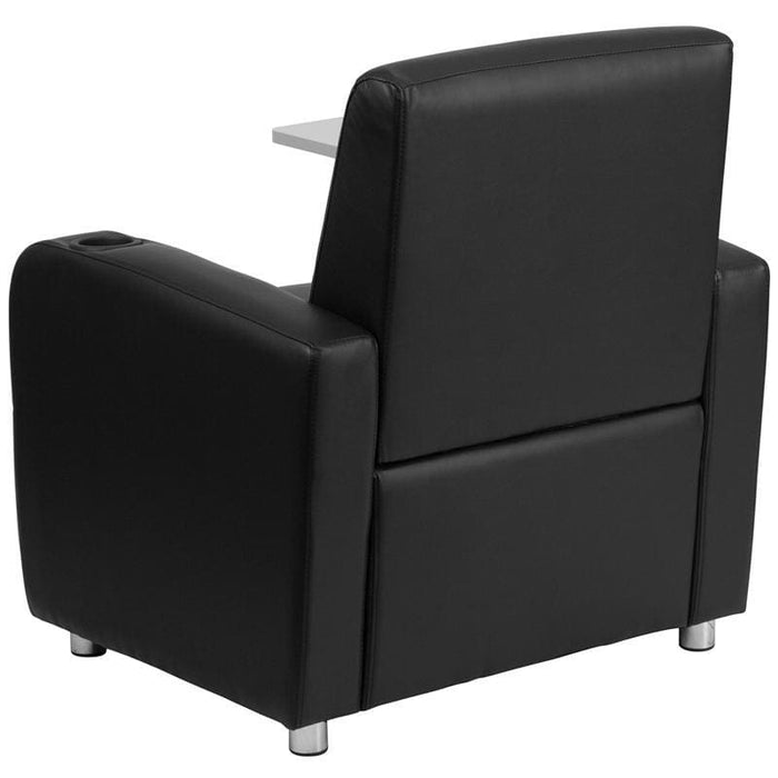 Black Leather Guest Chair With Tablet Arm Chrome Legs And Cup Holder - Reception Furniture - Chairs