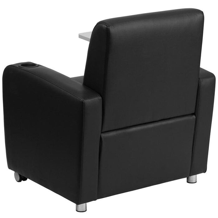Black Leather Guest Chair With Tablet Arm Front Wheel Casters And Cup Holder - Reception Furniture - Chairs