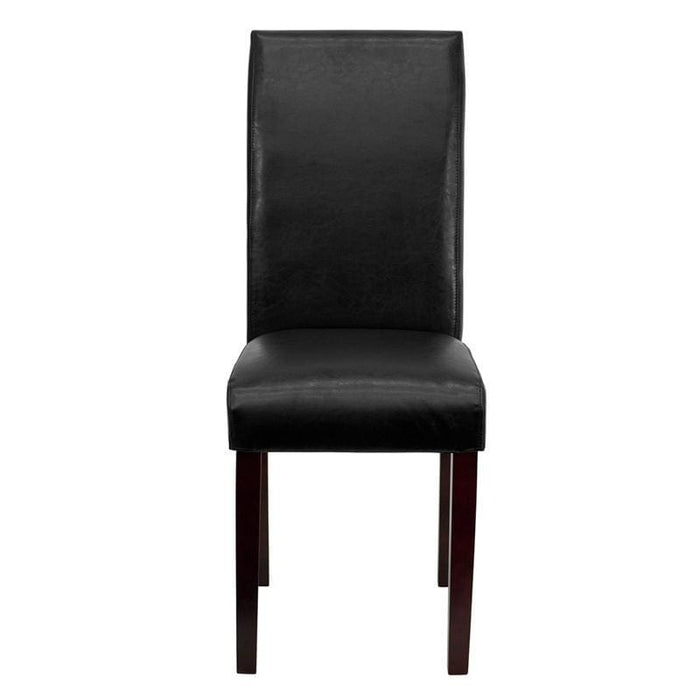Black Leather Parsons Chair - Dining Chairs