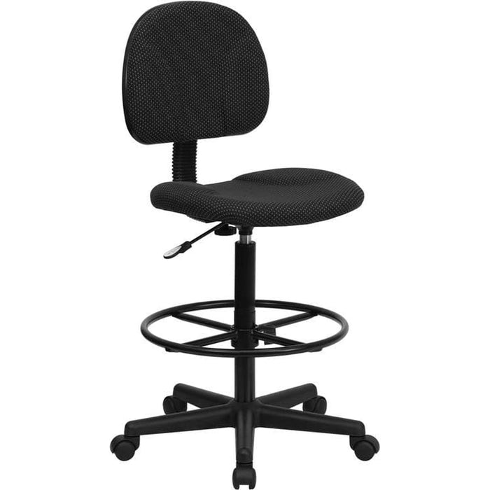Black Patterned Fabric Drafting Chair (Cylinders: 22.5-27H Or 26-30.5H) - Office Chairs