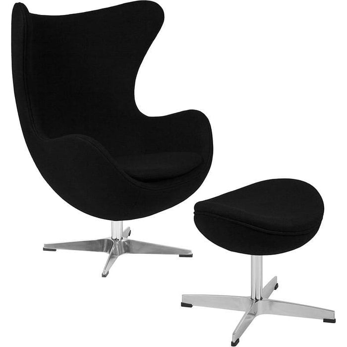 Black Wool Fabric Egg Chair With Tilt-Lock Mechanism And Ottoman - Reception Furniture - Chair And Ottoman Sets