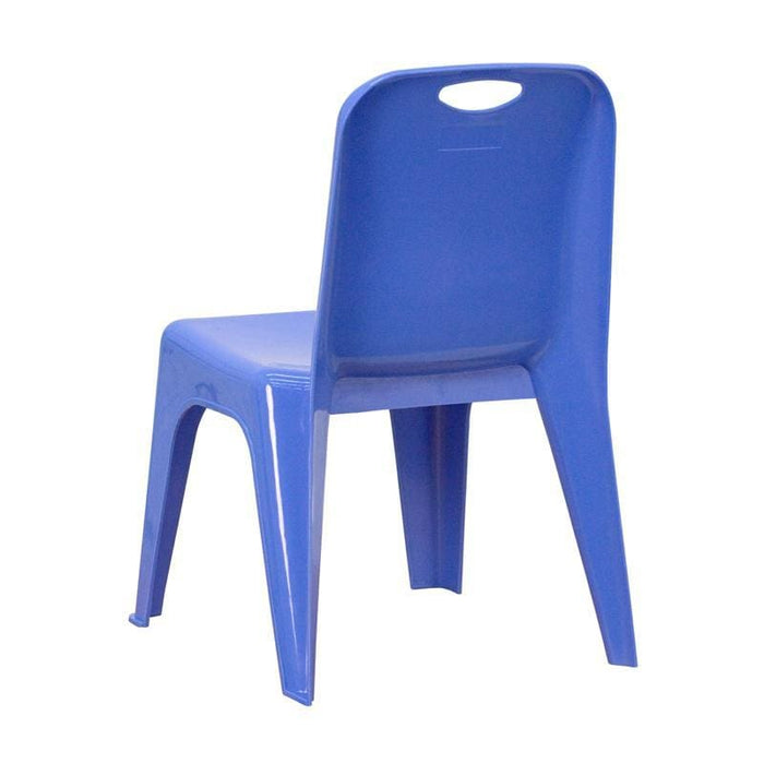 Blue Plastic Stackable School Chair With Carrying Handle And 11 Seat Height - Preschool Stack Chairs