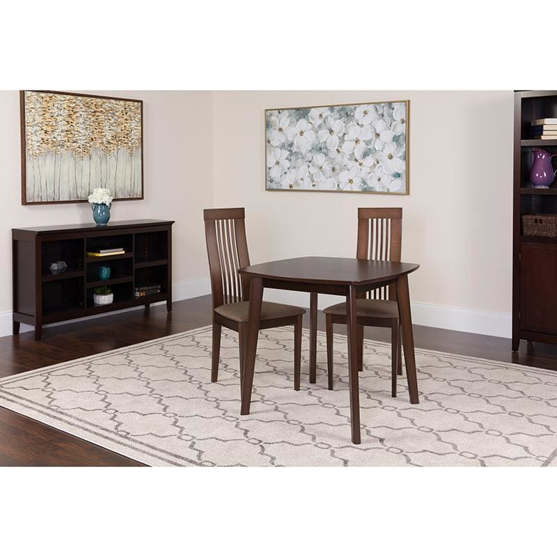 Bristol 3 Piece Espresso Wood Dining Table Set With Framed Rail Back Design Wood Dining Chairs - Padded Seats - Dinette Sets