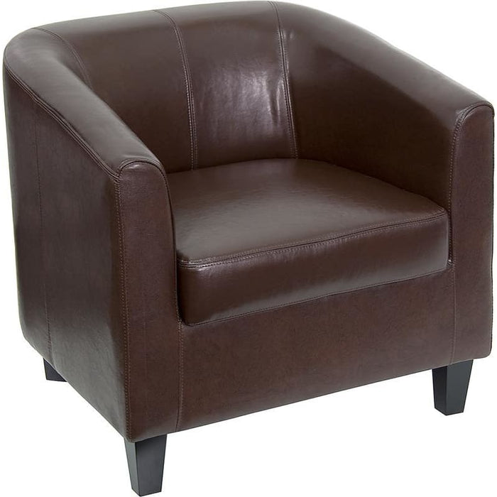 Brown Leather Lounge Chair - Reception Furniture - Chairs