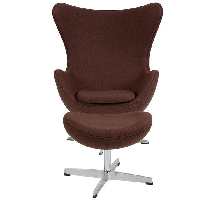 Brown Wool Fabric Egg Chair With Tilt-Lock Mechanism And Ottoman - Reception Furniture - Chair And Ottoman Sets