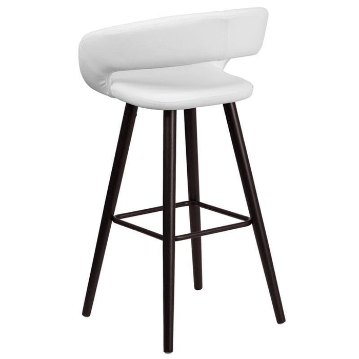 Brynn Series 29 High Contemporary Cappuccino Wood Barstool In White Vinyl - Residential Barstools