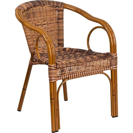 Cadiz Series Burning Brown Rattan Restaurant Patio Chair With Dark Red Bamboo-Aluminum Frame - Indoor Outdoor Chairs