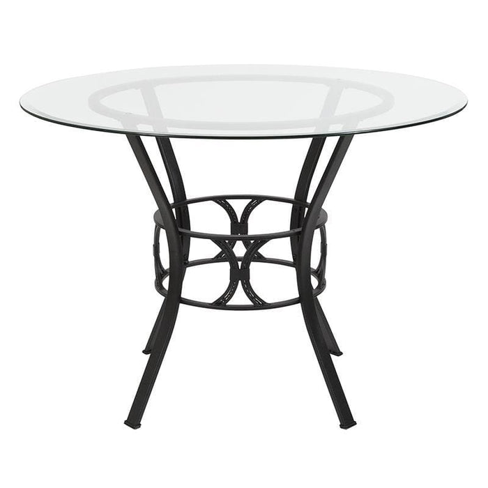 Carlisle 42 Round Glass Dining Table With Black Metal Frame - Dinette Tables