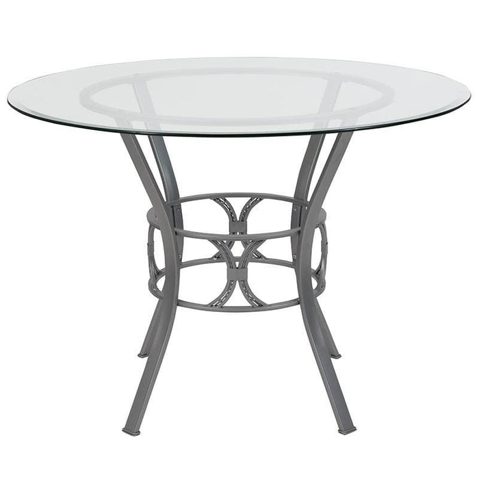 Carlisle 42 Round Glass Dining Table With Silver Metal Frame - Dinette Tables