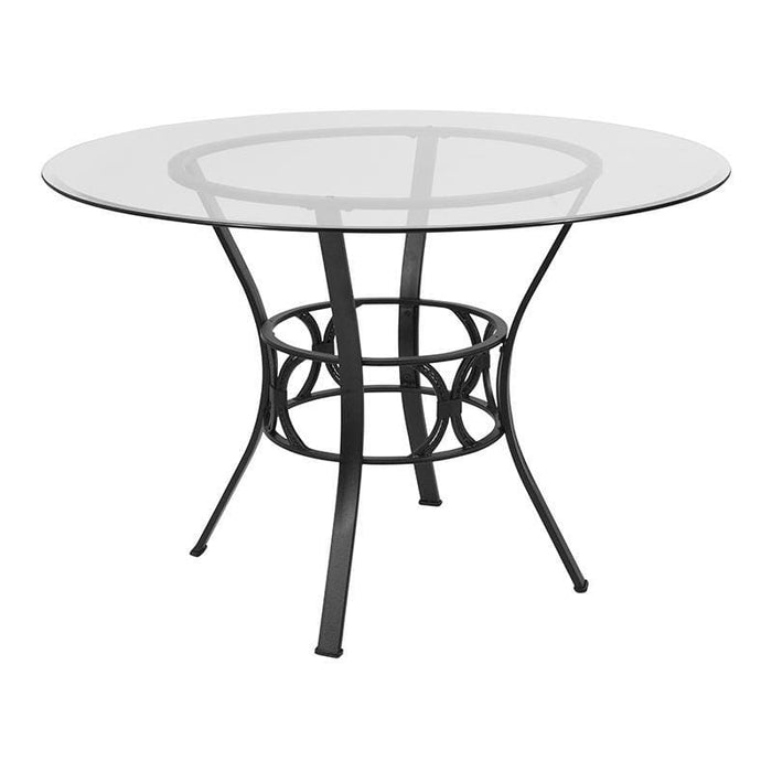 Carlisle 45 Round Glass Dining Table With Black Metal Frame - Dinette Tables