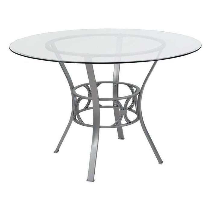 Carlisle 45 Round Glass Dining Table With Silver Metal Frame - Dinette Tables