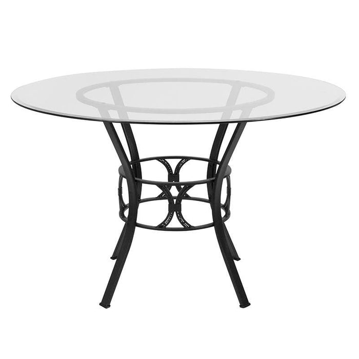 Carlisle 48 Round Glass Dining Table With Black Metal Frame - Dinette Tables