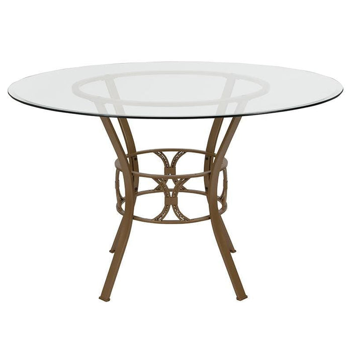 Carlisle 48 Round Glass Dining Table With Matte Gold Metal Frame - Dinette Tables