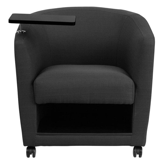 Charcoal Gray Fabric Guest Chair With Tablet Arm Front Wheel Casters And Under Seat Storage - Reception Furniture - Chairs