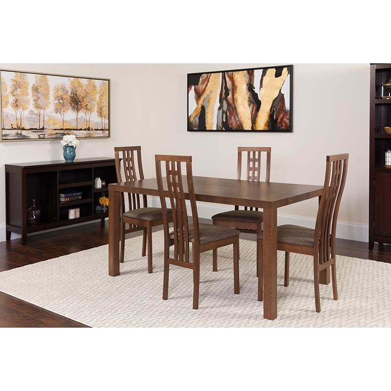 Chatham 5 Piece Walnut Wood Dining Table Set With High Triple Window Pane Back Wood Dining Chairs - Padded Seats - Dinette Sets